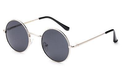 John Lennon Sonnenbrille Rund Hippie Stil Retro Silber Feder Scharnier Rahmen ()