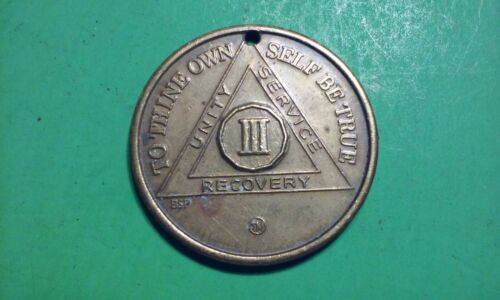 AA Alcoholics Anonymous Brass Recovery Chip Coin Token Medal III 3 Years