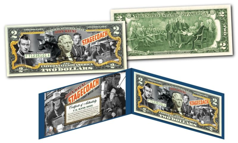 JOHN WAYNE 1939 Stagecoach Film - Legal Tender U.S. $2 Bill Officially Licensed