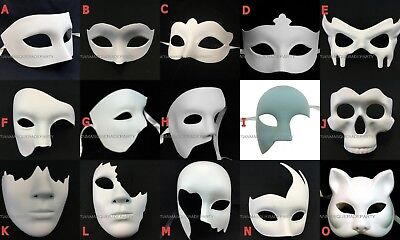 Unpainted White Blank DIY Halloween Costume Party Cat Bat Skull Phantom Eye Mask - Diy Cat Costumes Halloween