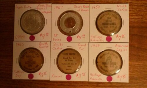 Wooden Nickels, Encased Cent, Animal League Medal, 6 Pieces