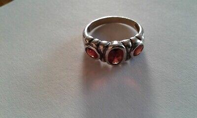 Vintage Silver garnet ring P