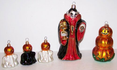 FABULOUS SET OF 5 POLISH GLASS DRACULA GHOSTS PUMPKIN HALLOWEEN TREE ORNAMENTS