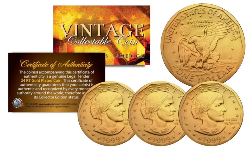 - Lot of 3 - Susan B. Anthony U.S U.S. Coins Genuine 24K GOLD PLATED w/Capsules