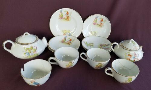 12 piece Child Tea Dish Set ELPCO CHINA Antique 1900 FROG Elves Gnomes Scarecrow
