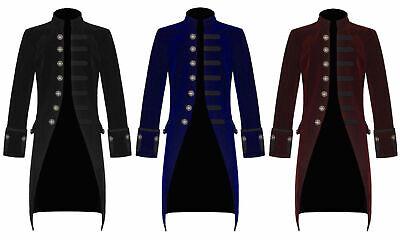 Men Velvet FROCK COAT Gothic Victorian Jacket Steampunk Pirate Vampire  (Steampunk Pirate Coat)