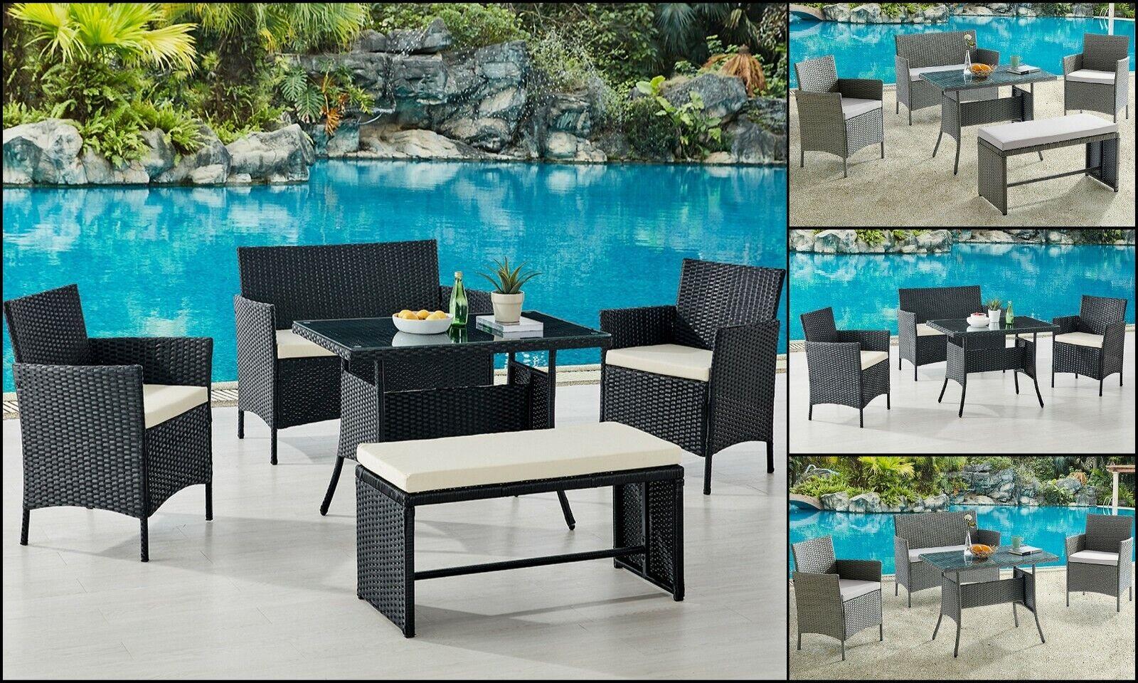 Garden Furniture - Rattan Garden Furniture Set Outdoor Dining Table Chair Optional Bench Grey Black