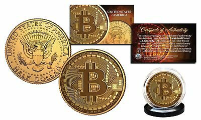 Bitcoin Physical Commemorative Crypto 24K Golden Clad Jfk Half Dollar U S  Coin