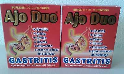 2 Pack Ajo Duo Gastritis 60 Tabletas Úlceras Colitis Acidez Reflujo Free Ship