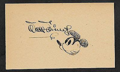 Walt Disney Autograph Reprint On Genuine 1940s 3x5 Card