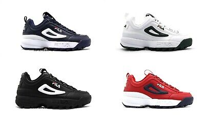 NEW MENS FILA DISRUPTOR 2 PREMIUM BLACK RED BLUE WHITE GREEN LACE UP SNEAKERS