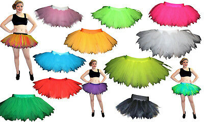 NEON UV BLACK RED 7 LAYERS POINTED TUTU SKIRT HALLOWEEN (Red Tutu Halloween Kostüm)