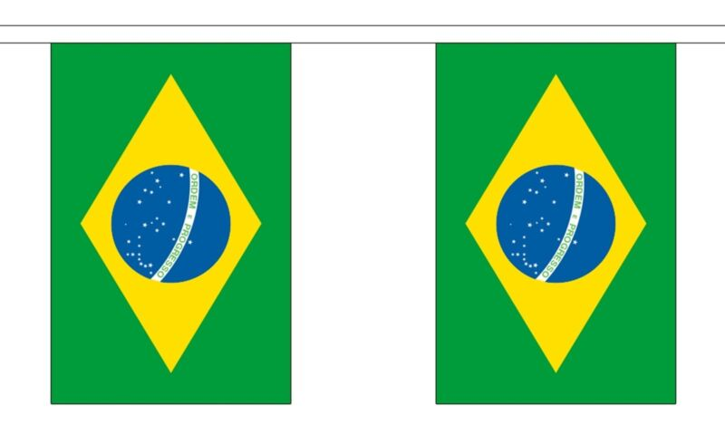 BRAZIL 18m metre BUNTING 60 feet 30 flags flag BRAZILIAN BRAZILIA