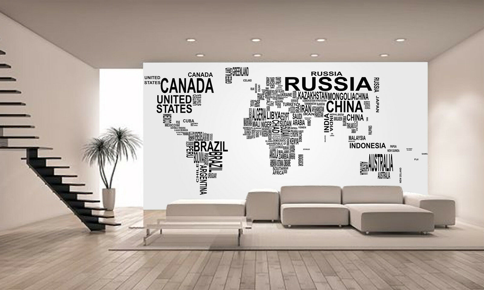 World Map Country Name Wall Mural Wallpaper