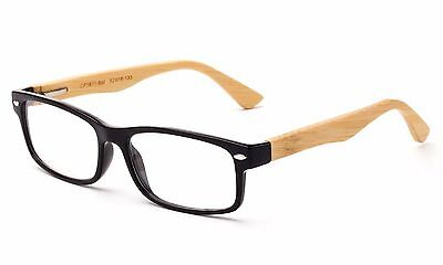 Clear Lens Fashion Glasses with Colored frame and Bamboo Temples Bamboo (Glasses With Plastic Frames And Clear Lenses)