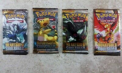 Pokemon 4 Unsearched Heart Gold Soul Silver Booster Packs 1 Each Pack Art  -
