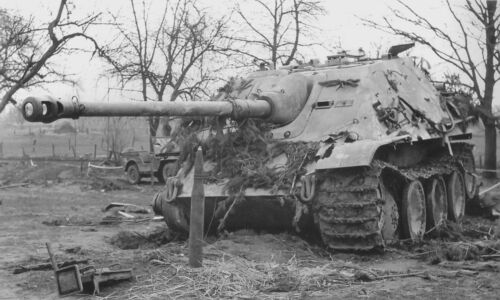 "WWII photo Padded German ""Jagdpanther"" in the area of Reichswald a86"