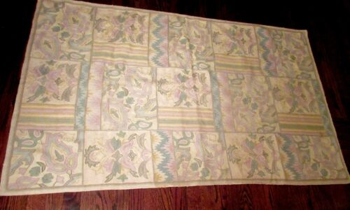large vintage hand embroidered stitched wool chain link rug mat carpet tapestry