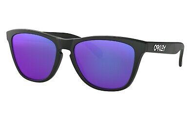 Oakley FROGSKINS Sunglasses 24-298 Matte Black Frame W/ Violet Iridium Lens