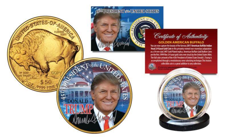 DONALD TRUMP 24K Gold Plated AMERICAN GOLD BUFFALO Indian Tribute Coin  w/COA