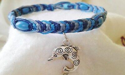 Dolphin Charm Hemp Anklet Handmade Ankle Bracelet  Surfer Boho Beach Blue