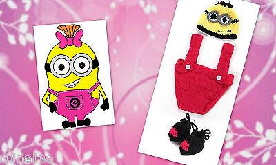 ★★★ NEU Baby Fotoshooting Kostüm Minions Mädchen pink gelb 0-6 Monate - Baby Kostüm Minion