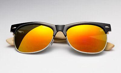 Bamboo Sunglasses Fire Sunset Orange Mirror Lens Wooden Retro Style Black (Orange Mirror Sunglasses)