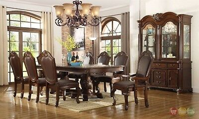 Chateau Traditional 9 Piece Formal Dining Room Set Table Chairs & China (Dining Room Traditional China Cabinet)