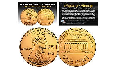1943 TRIBUTE Steelie WWII Steel PENNY Coin Clad in Genuine 24K GOLD - Lot of 3