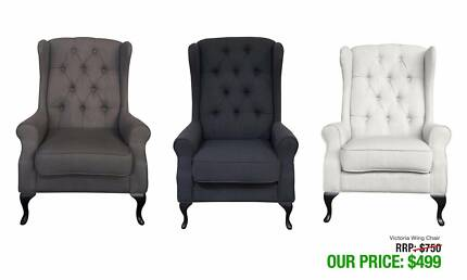 Charming VICTORIA WINGBACK CHAIRS GORGEOUS DESIGN AVAILABLE IN THREE TONES