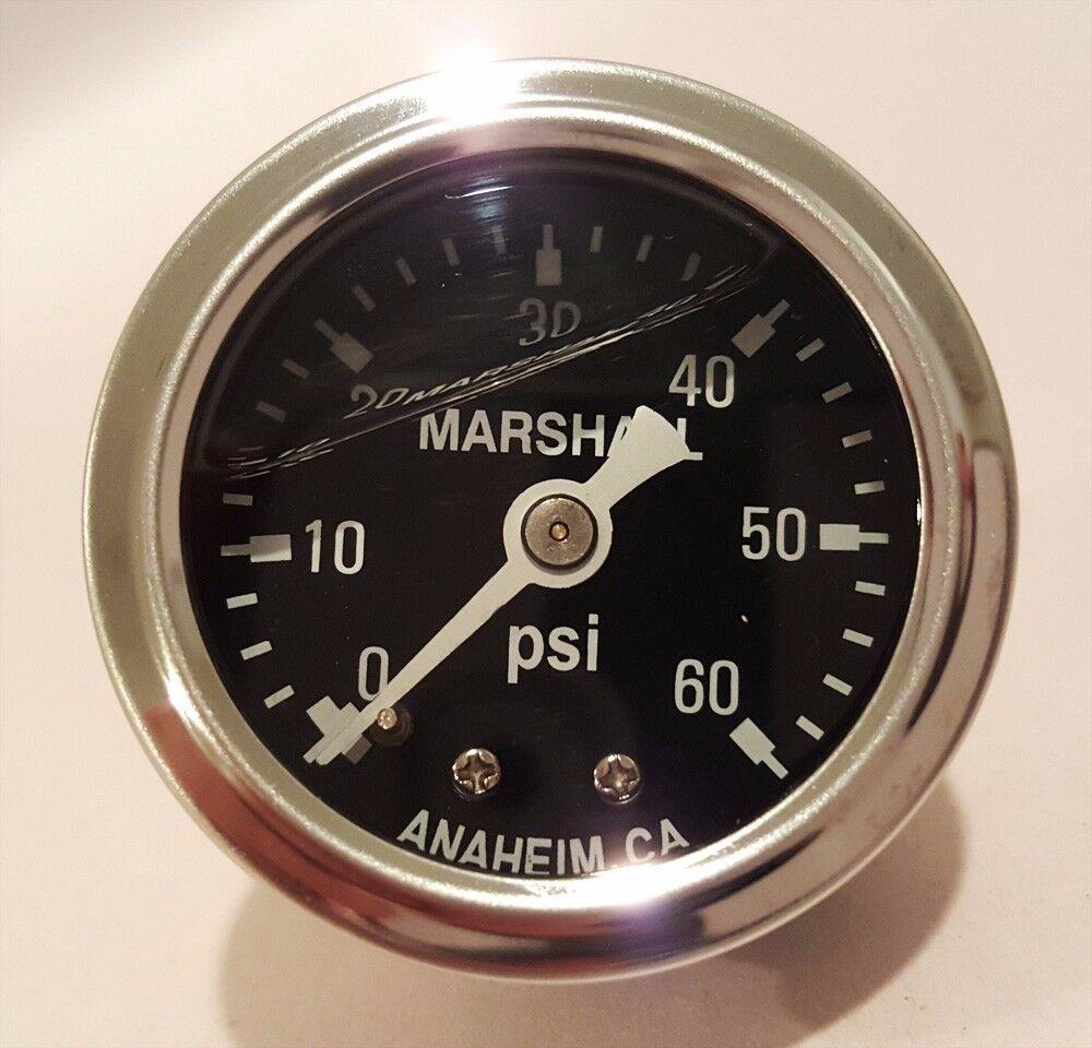 "Marshall 0-60 Psi Fuel / Oil Pressure Gauge Black 1.5"" Diameter (Liquid Filled)"