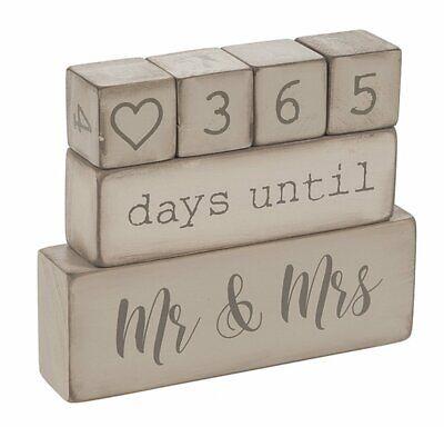 Ganz  6 Piece Wooden Block Wedding Day Countdown Calendar NEW in package