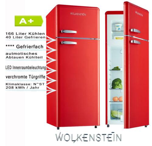 Retro Kühlschrank Rot Glanz  A+ Kühl- Gefrierkombi Wolkenstein