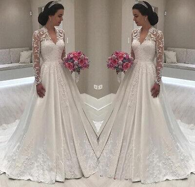 Princess Long Sleeve V-Neck Wedding Dresses Lace Bridal Gowns Custom Made 2019 Long Sleeve Bridal Dresses