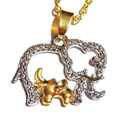 (GOLD & SILVER TONE ELEPHANT NECKLACE mama baby mother's day love pendant new 1G)