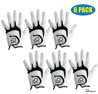 Cabretta Leather Golf Glove Men's 6 Pack No-Slip White Left Hand Right Fast Ship ()