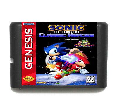 Games Cartridge - Sonic Classic Heroes 16 Bit MD Sega Mega Drive Genesis
