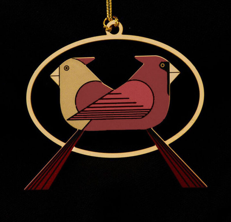 Charley Harper Brass Cardinal Consorting Christmas Ornament Adornment