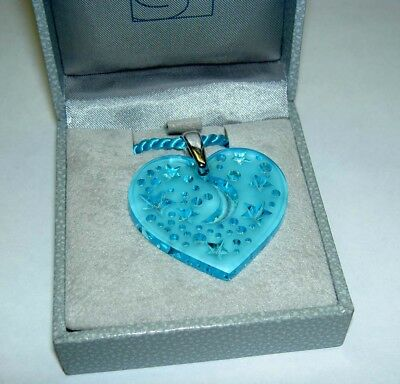 Authentic LALIQUE Sky Blue Moon Star Heart Crystal Pendant Necklace New in Box Blue Moon Art Glass Pendant