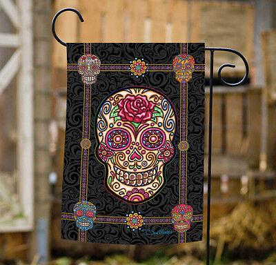 Toland Sugar Skulls 12.5 x 18 Colorful Halloween Skull Skeleton Garden Flag