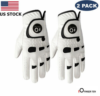 Golf Gloves Mens Ball Marker 2 Pack Left Hand Right Lh Rh Leather Grip Large - Large Left Hand Golf Glove