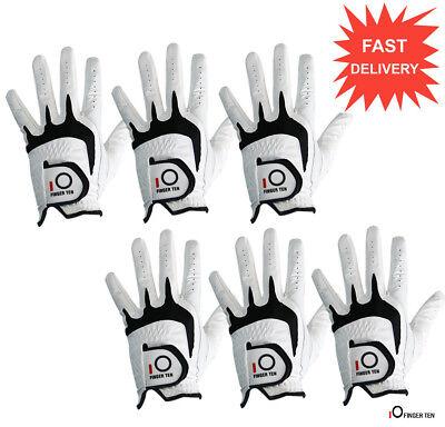 Cabretta Leather Golf Gloves Men's 6 Pack RelaxGrip Left Hand Right Handed White ()