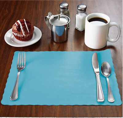 "1000 Raise® Sky/Light Blue Placemats, Scalloped, 10""x14"" place mats, disposable"