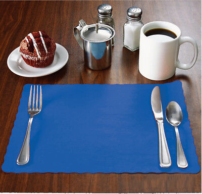 "100 Raise® Dark Blue Paper Placemats, Scalloped, 10""x14"" place mats, Disposable"
