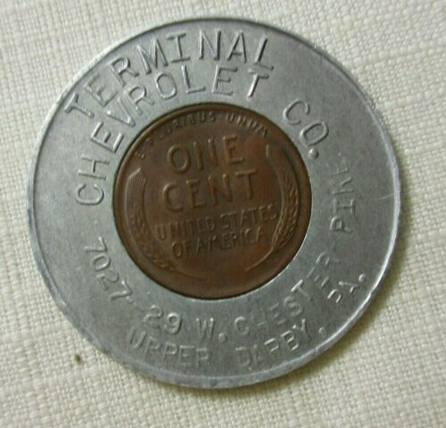 TERMINAL CHEVROLET ~  UPPER DARBY PA  ~ 1948 D ENCASED CENT GOOD LUCK  PENNY