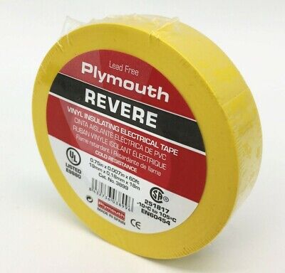 Plymouth Rubber 3899 Revere Yellow 7 Mil Vinyl Electrical Tape 34x 60 - Spain