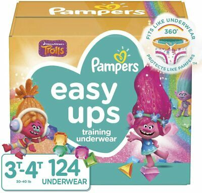 Pampers Easy Ups Girls Training Pants Trolls Pack 3T-4T, 124 Ct