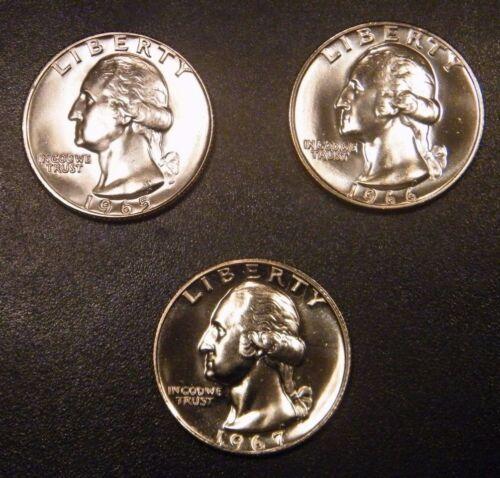 1965 1966 1967 SMS Special Mint Set Washington Quarter 25¢ US Coin Mint Run