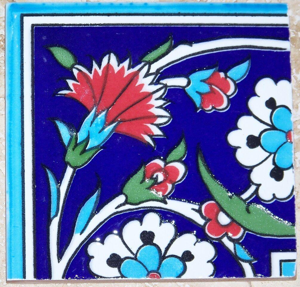 Tile art home dcor men 4x4 ottoman iznik red carnation white daisy ceramic tile border corner dailygadgetfo Gallery