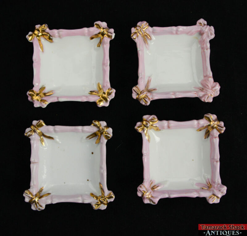 Set Of 4 Unmarked Small Square Butter Pats Shallow Dishes Purple Gilded Bows